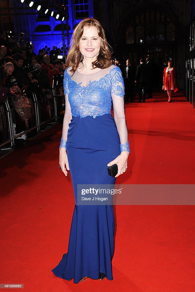 Geena Davis attends the BFI Luminous Funraising Gala at The Guildhall on October 6, 2015 in London, England.