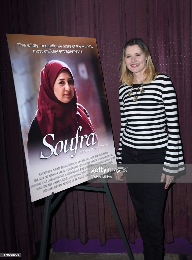 Geena Davis attends the book launch and film premiere of 'Soufra' at Laemmle's Music Hall 3 on November 17, 2017 in Beverly Hills, California.