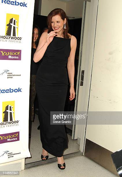 Geena Davis during 9th Annual Hollywood Film Festival Awards Gala Ceremony Press Room at Beverly Hilton Hotel in Beverly Hills California United...