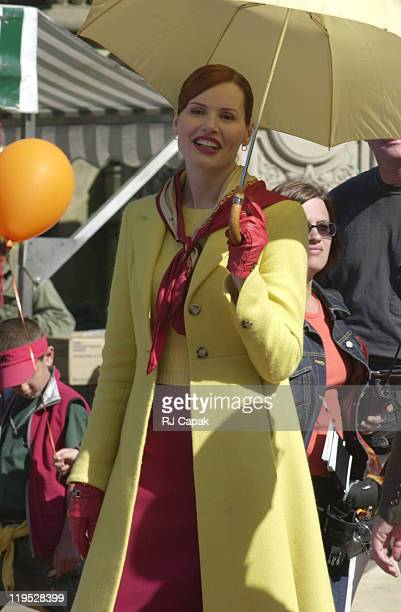 Geena Davis during Stuart Little 2 movie set filming in Central Park at Central Park in New York City New York United States
