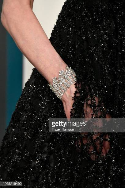 Geena Davis jewelry detail attends the 2020 Vanity Fair Oscar Party hosted by Radhika Jones at Wallis Annenberg Center for the Performing Arts on...