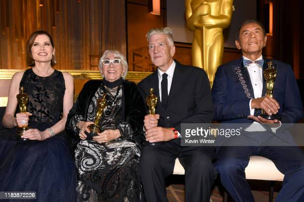 Geena Davis Lina Wertmüller David Lynch and Wes Studi attend the Academy Of Motion Picture Arts And Sciences' 11th Annual Governors Awards at The Ray...