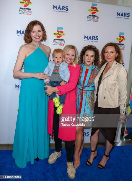 Geena Davis Madeline Di Nonno and Wendy Guerrero walk the blue carpet the filmmaker awards ceremony at the 5th Annual Bentonville Film Festival on...