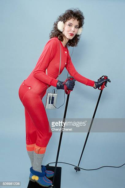 Geena Davis Modeling Ski Wear while listening to music on a Toshiba cassette device