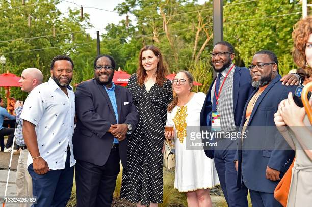 Geena Davis poses with guests and filmmakers during the 2021 Bentonville Film Festival opening night red carpet and filmmaker reception on August 04,...
