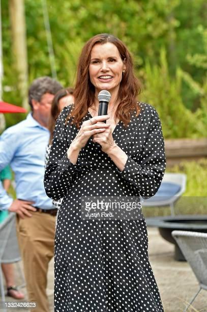 Geena Davis speaks at the 2021 Bentonville Film Festival opening night red carpet and filmmaker reception on August 04, 2021 in Bentonville, Arkansas.