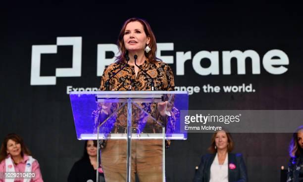 Geena Davis speaks during the Share Her Journey Rally during 2018 Toronto International Film Festival on September 8 2018 in Toronto Canada