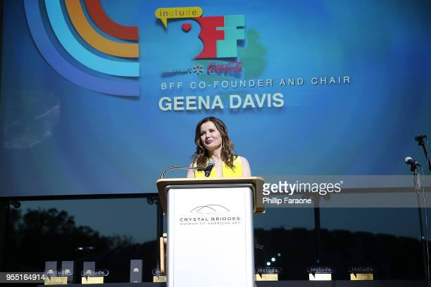Geena Davis speaks onstage at the 4th Annual Bentonville Film Festival Awards on May 5 2018 in Bentonville Arkansas