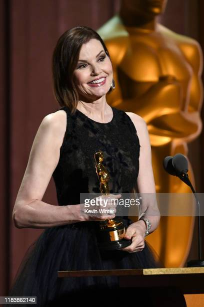 Geena Davis speaks onstage during the Academy Of Motion Picture Arts And Sciences' 11th Annual Governors Awards at The Ray Dolby Ballroom at...