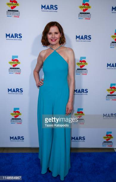 Geena Davis walks the blue carpet for the filmmaker awards ceremony at the 5th Annual Bentonville Film Festival on May 11 2019 in Bentonville Arkansas
