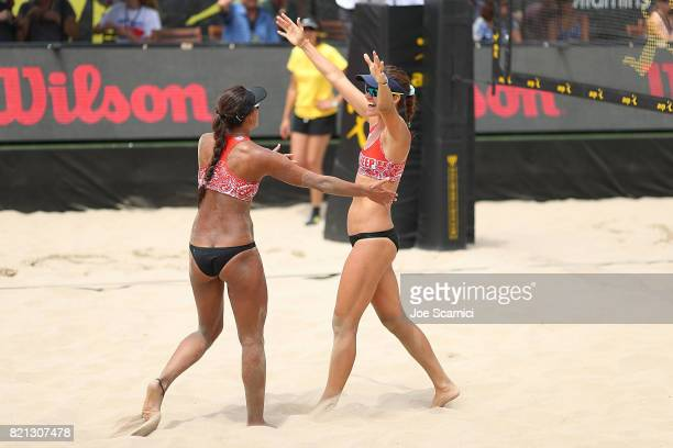 Geena Urango and Angela Bensend celebrate match point during the women's semifinals at AVP Hermosa Beach Open on July 23 2017 in Hermosa Beach...