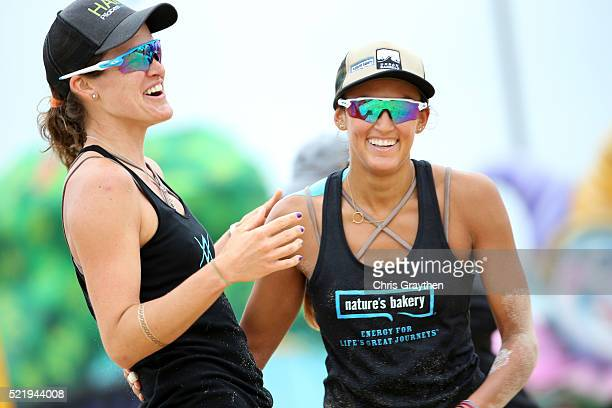 Geena Urango and Angela Bensend react during the Semi Final round of the AVP New Orleans Open on April 17 2016 in Kenner Louisiana