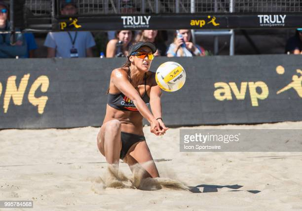 Geena Urango takes a serve low in the women's Finals of the AVP Pro Beach Volleyball Tour on Sunday July 8 2018 at Pier 32 in San Francisco CA