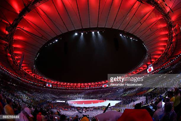 A geenral view at the 'Love Sport Tokyo 2020' segment during the Closing Ceremony on Day 16 of the Rio 2016 Olympic Games at Maracana Stadium on...