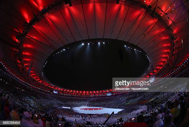 Geenral view at the 'Love Sport Tokyo 2020' segment during the Closing Ceremony on Day 16 of the Rio 2016 Olympic Games at Maracana Stadium on August...