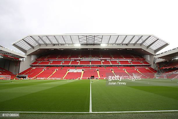 A geenral view of the new stand prior to the Premier League match between Liverpool and Hull City at Anfield on September 24 2016 in Liverpool England