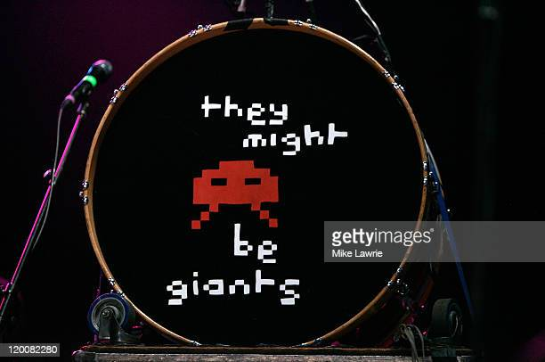 A geeral view of They Might Be Giants' drumset as they perform at the Williamsburg Waterfront on July 29 2011 in New York City