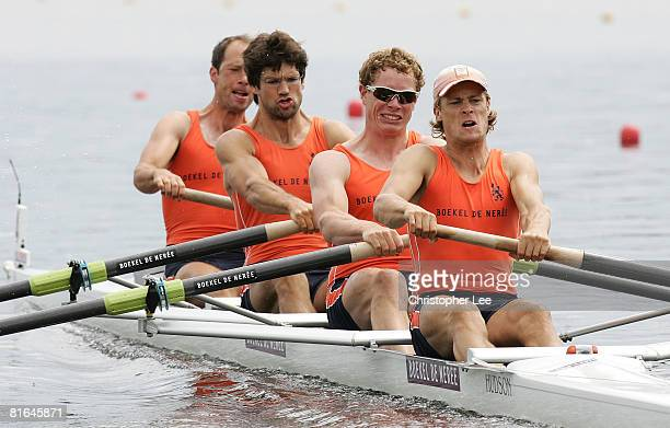 Geert Cirkel Matthijs Vellenga JanWillem Gabriels and Gijs Vermeulen of Netherlands in the Men's Four during Day 1 of the FISA Rowing World Cup on...