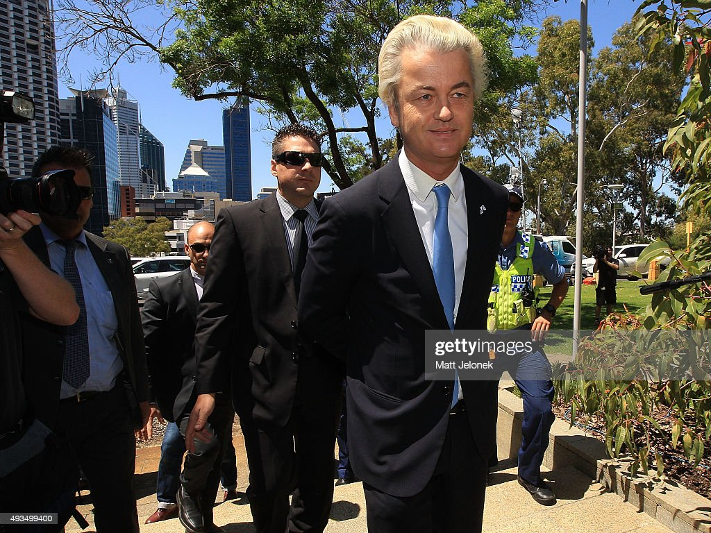 Geert Wilders arrives to the Australian Liberty Alliance press conference on October 21, 2015 in Perth, Australia. Mr Wilders launched the anti-Islam Australian Liberty Alliance political party on Tuesday night. The venue of the launch was kept secret to avoid protesters.