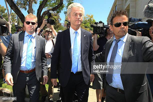 Geert Wilders departs the ALA media conference on October 21 2015 in Perth Australia Mr Wilders launched the antiIslam Australian Liberty Alliance...