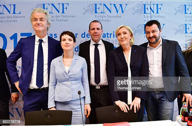 Geert Wilders Frauke Petry Harald Vilimsky Marine Le Pen and Matteo Salvini speak to the media during a conference of European rightwing parties on...