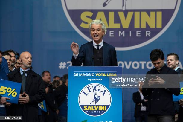 Geert Wilders leader of PVV  Partij voor de Vrijheid delivers a speech during the political rally 'Prima l'Italia Il buon senso in Europa Towards a...