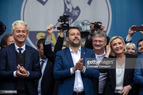 Geert Wilders leader of PVV Partij voor de Vrijheid Matteo Salvini leader of Lega Jorg Meuthen MEP for AfD Alternative für Deutschland Marine Le...