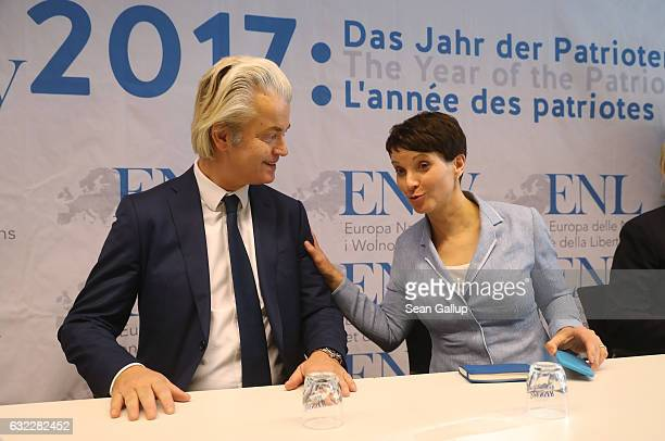 Geert Wilders leader of the Dutch PVV political party and Frauke Petry leader of the Alternative for Germany political party arrive to speak to the...