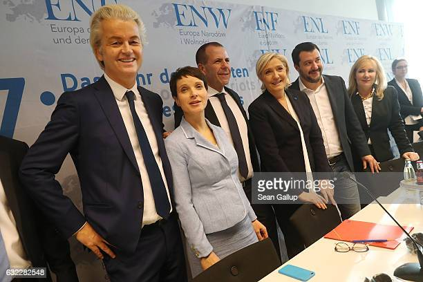 Geert Wilders leader of the Dutch PVV political party Frauke Petry leader of the Alternative for Germany Harald Vilimsky General Secretary of the...