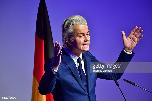 Geert Wilders leader of the Dutch PVV political party speaks at a conference of European rightwing parties on January 21 2017 in Koblenz Germany In...