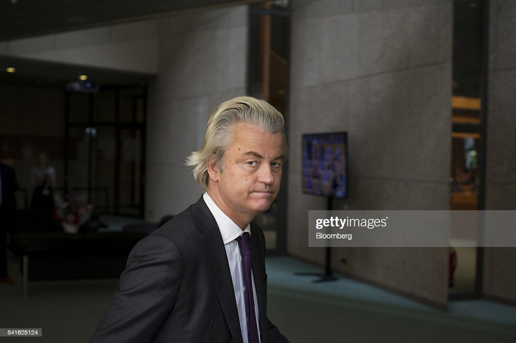 Geert Wilders, leader of the Freedom Party, arrives for a session in parliament in The Hague, Netherlands, on Thursday, June 16, 2016. Dutch Prime Minister Mark Rutte said that he wouldnt rule out governing with anti-Islam Freedom Party leader Wilders, as he acknowledged a collective failure by traditional parties to adequately respond to voter concerns. Photographer: Jasper Juinen/Bloomberg via Getty Images