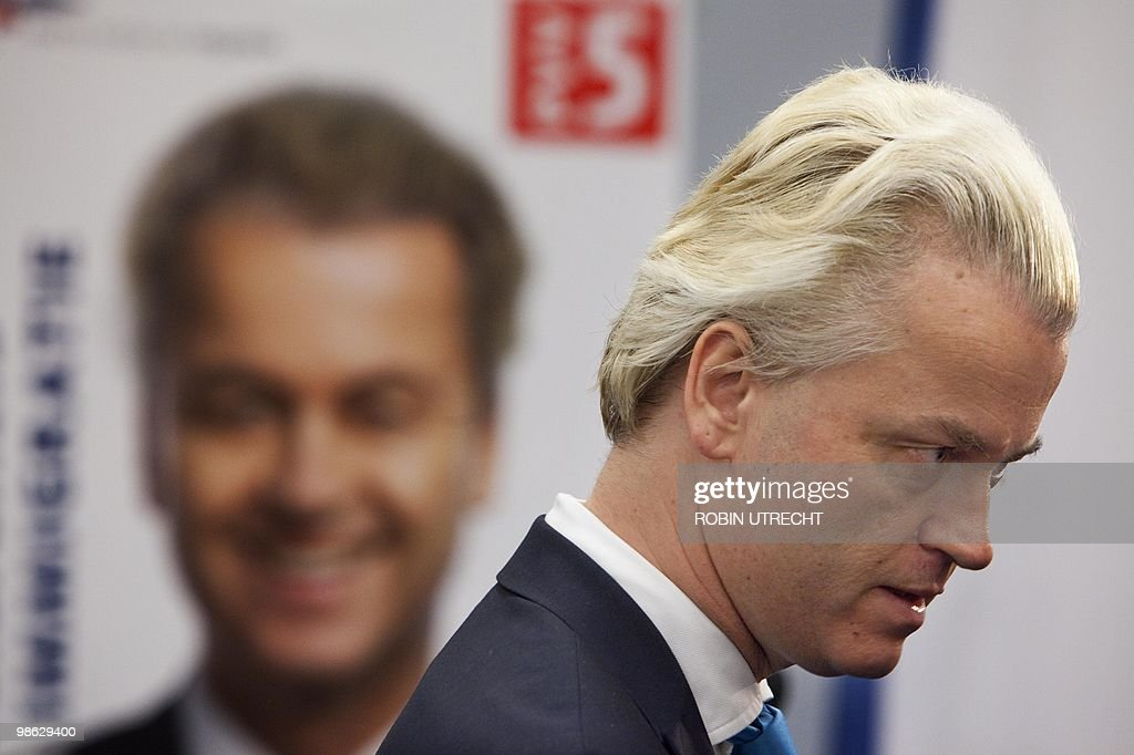 Geert Wilders, leader of The Freedom Party (PVV) is presenting the program of his party during a press conference in The Hague on April 23, 2010. The program is named The Agenda of Hope and Optimism. AFP ANP ROBIN UTRECHT netherlands out - belgium out
