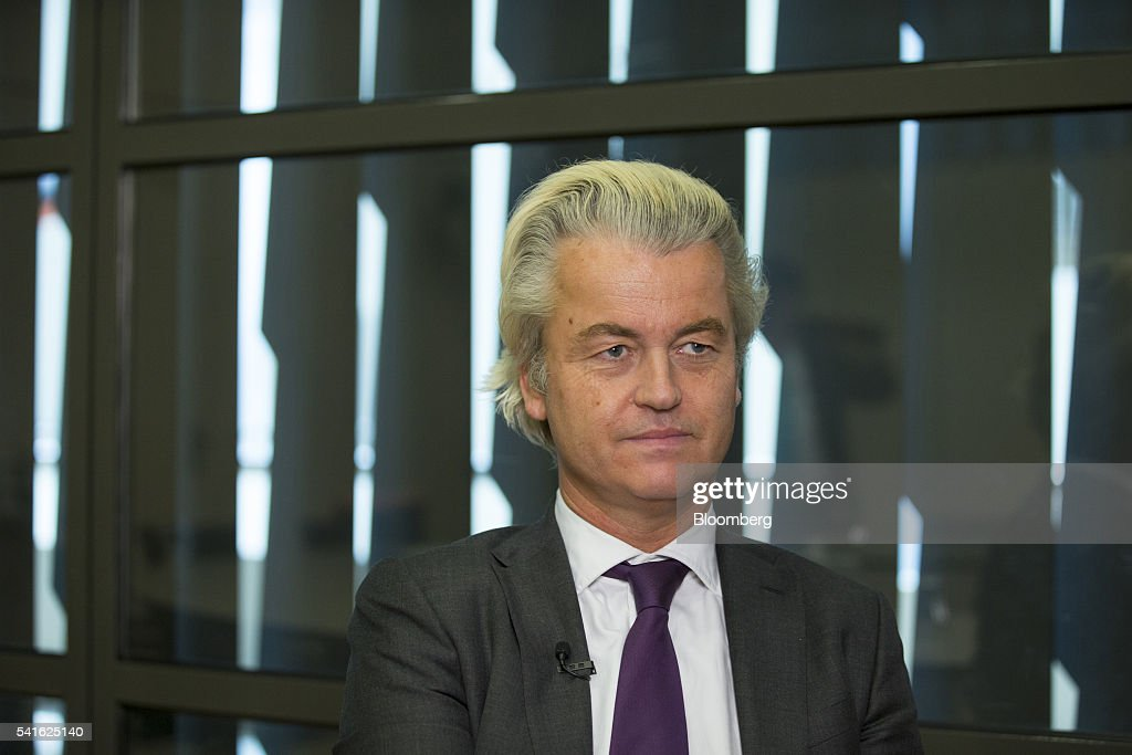 Geert Wilders, leader of the Freedom Party, pauses during an interview in The Hague, Netherlands, on Thursday, June 16, 2016. Dutch Prime Minister Mark Rutte said that he wouldnt rule out governing with anti-Islam Freedom Party leader Wilders, as he acknowledged a collective failure by traditional parties to adequately respond to voter concerns. Photographer: Jasper Juinen/Bloomberg via Getty Images
