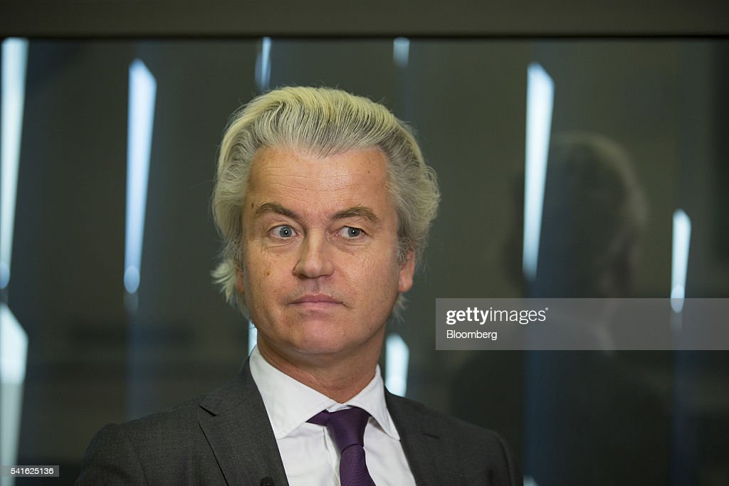 Geert Wilders, leader of the Freedom Party, reacts during an interview in The Hague, Netherlands, on Thursday, June 16, 2016. Dutch Prime Minister Mark Rutte said that he wouldnt rule out governing with anti-Islam Freedom Party leader Wilders, as he acknowledged a collective failure by traditional parties to adequately respond to voter concerns. Photographer: Jasper Juinen/Bloomberg via Getty Images