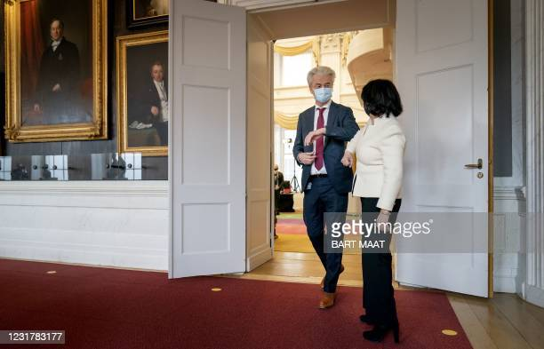 Geert Wilders, leader of the PVV, greets President of the House of Representatives Khadija Arib ahead of their meeting at the Binnenhof, the venue of...