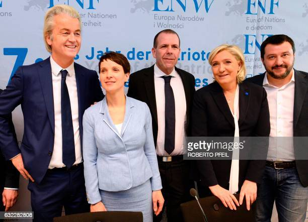 Geert Wilders of the Dutch farright Freedom Party the chairwoman of the antiimmigration Alternative for Germany Frauke Petry the Secretary General of...
