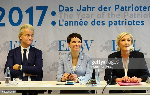 Geert Wilders of the Dutch farright Freedom Party the chairwoman of the antiimmigration Alternative for Germany Frauke Petry and French National...
