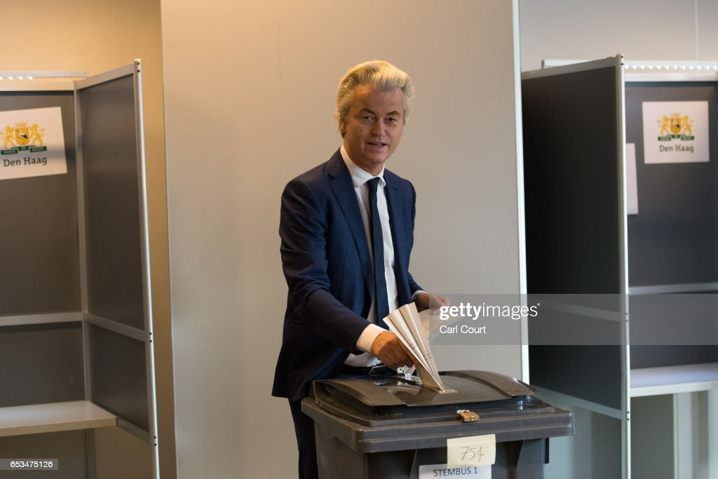 Geert Wilders, the leader of the right-wing Party for Freedom (PVV), casts his vote during the Dutch general election, on March 15, 2017 in The Hague, Netherlands. Dutch voters go to the polls today in a tightly contested election.