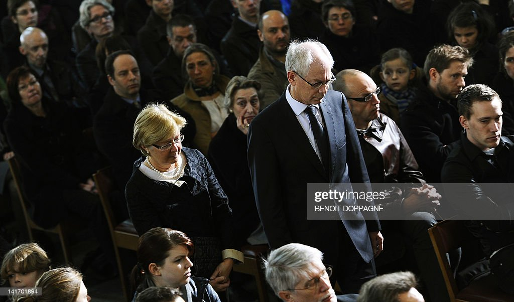 Geertrui Windels and her husband and President of the European Council Herman Van Rompuy arrive on March 22, 2012 at the Sint-Pieters church in Leuven for a funeral service for the seven children from Heverlee, who were killed in the March 13 bus crash in Switzerland. Twenty-eight people were killed in the crash in a tunnel in Sierre, southern Switzerland, including 22 children from two schools in Lommel and Heverlee on their way home from a ski vacation.