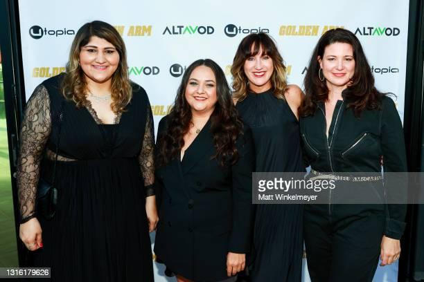 "Geeta Bajaj, Maureen Bharoocha, Jenna Milly, and Ann Marie Allison attends Utopia Films presents ""Golden Arm"" premiere at Palm Sophia Rooftop on..."