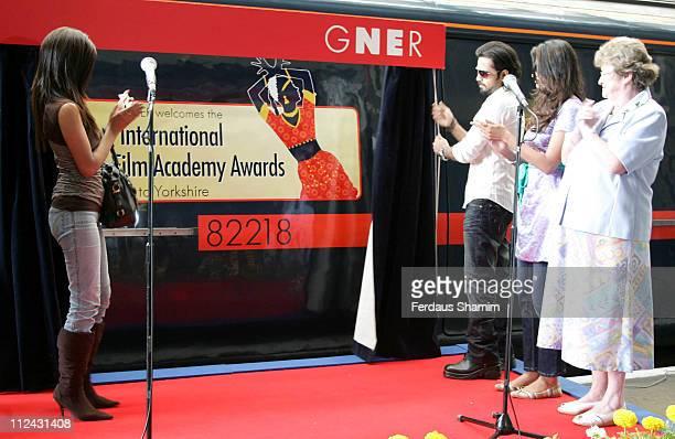 Geeta Basra Emraan Hashmi and Sayali Bhagat during Stars of 'The Train' Unveil GNER Train Photocall at King's Cross Station in London United Kingdom