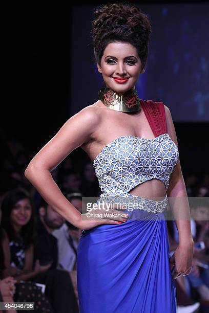 Geeta Basra showcases designs by Soup by Sougat Paul during day 4 of Lakme Fashion Week Winter/Festive 2014 at The Palladium Hotel on August 23 2014...