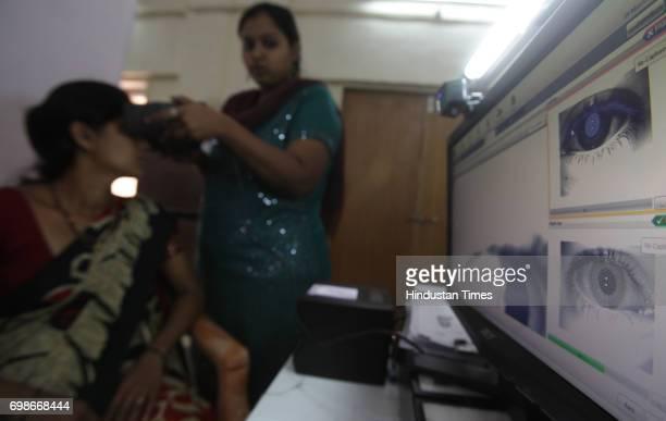Geeta gets her Iris scanned at UID enrollment at Kawalmathe BMC school in Mumbai