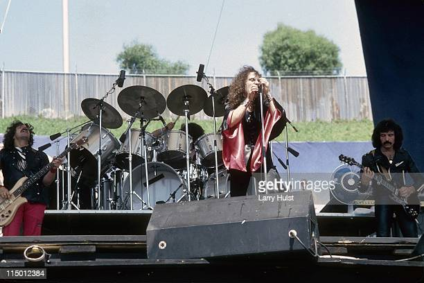 Geezer Bulter Ronnie James Dio and Tony Iommi playing with 'Black Sabbath' performing at Oakland Coliseum in Oakland California on July 27 1980