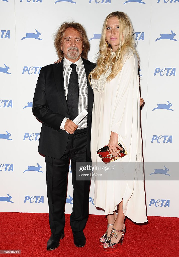 Geezer Butler and Kesha attend PETA's 35th anniversary party at Hollywood Palladium on September 30, 2015 in Los Angeles, California.