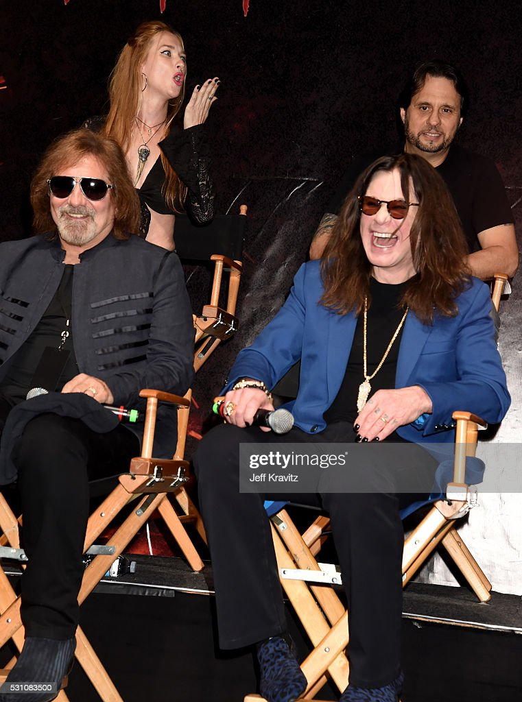 Geezer Butler and Ozzy Osbourne attend the Ozzy Osbourne and Corey Taylor Special Announcement on May 12, 2016 in Hollywood, California.