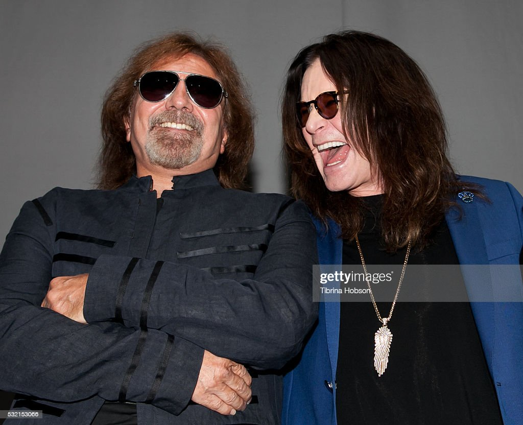 Geezer Butler and Ozzy Osbourne attend the Ozzy Osbourne and Corey Taylor Special Announcement on May 12, 2016 in Hollywood, California. California.