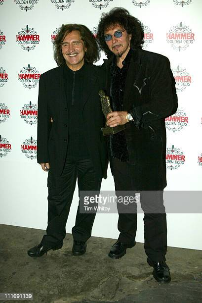Geezer Butler and Tony Iommi from Black Sabbath during The Metal Hammer Golden Gods Awards 2005 Arrivals Press Room at The Astoria in London Great...