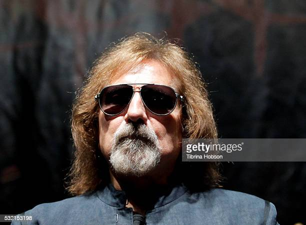 Geezer Butler attends the Ozzy Osbourne and Corey Taylor special announcement press conference on May 12 2016 in Hollywood California