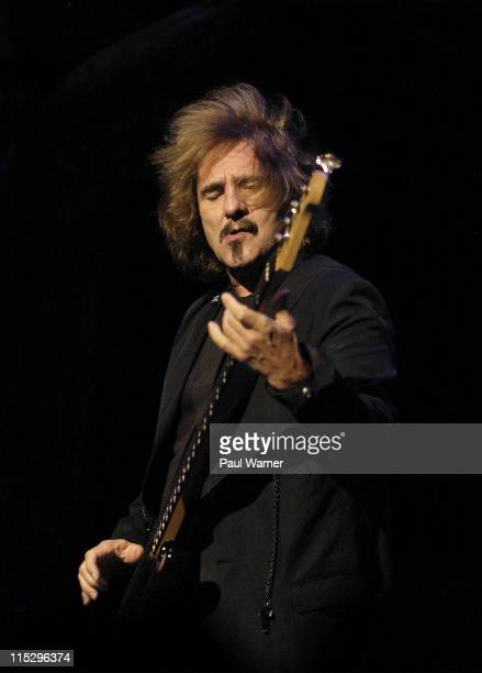 Geezer Butler bassist of Heaven and Hell performs with the band during the 2008 Masters of Metal Tour at the First Midwest Bank Amphitheater on...